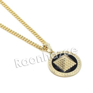 "Mens Gold 3D Pyramid Pendant w/ 5mm 24"" 30"" Brass Cuban Chain A11"