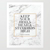 Keep Your Heels Head And Standards High,Fashion Quote,Fashionista,Fashion Print,Girls Room Decor,Mod Art Print by Printable Aleks