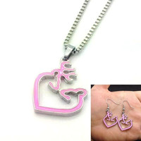 2015 New Fashion HOT 1 Set of Browning Deer Necklace &amp  Earrings Fashion Jewelry Xmas Gift Women Jewelry Accessories (Color: Pink) = 1945904580