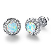 2.00 Ct Opal Created Round Halo Stud Earringin 18K