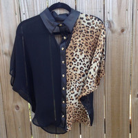 Skull and Leopard Button Blouse