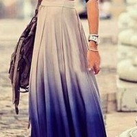 Royal Blue Ivory High Waist Pleated Circle Bell Flare Maxi Skirt