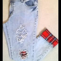 Ripped Skinny Jeans with Red Flannel Patches- Distressed- Plaid-Cuffed