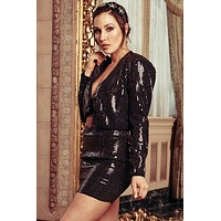 Almost Famous Sequin Blazer (Black)