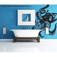 "Stickerbrand© Animals Vinyl Wall Art Giant Octopus Wall Decal Sticker - Multiple Colors Available, 60"" x 54"". Easy to Apply & Removable. Includes FREE Application Squeegee"