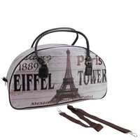 """20"""" Vintage-Style Paris and Eiffel Tower French Theme Travel Bag with Handles and Shoulder Strap"""