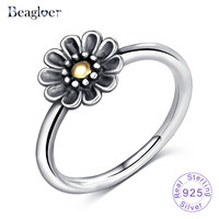 Beagloer 925 Sterling Silver Stackable Ring Dazzling Daisy Flower Rings for Women Wedding Jewelry Birthday Gift PSRI0080-B