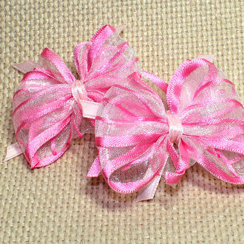 Pink Dog Bow. Organza Ribbon with Pink Satin Trim for Puppy Bows. Hair Bows Tied with Light Pink Ribbon And Two Clear Elastics Small Dog Bow