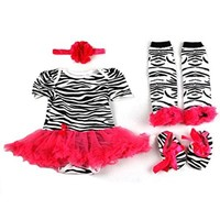 ETSYG® 4pcs Newborn Infant Baby Girl's Headband +Romper +Leg Warmer +Shoes Outfit (S)