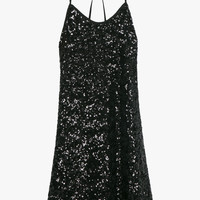 Black Sequin Party Flare Mini Dress