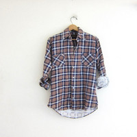Vintage boyfriend flannel / blue and brown grunge shirt / tomboy shirt / wahed out plaid flannel