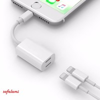 Audio Headphone Charging Dual Lighting Adapter Cable AUX Splitter for iPhone 7 8 Plus