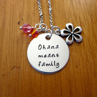 "Ohana Means Family necklace. Inspired by Disney's ""Lilo & Stitch"". Silver colored, Swarovski crystals, for women or girls"