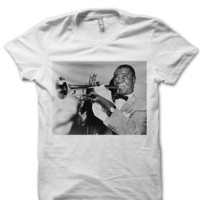 LOUIS ARMSTRONG T-SHIRT LOUIS ARMSTRONG VINTAGE POSTER CELEBRITY SHIRTS SAXOPHONE PLAYER FAMOUS JAZZ MUSICIANS I LOVE JAZZ