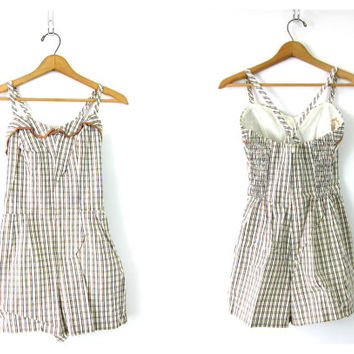 vintage 1950s Plaid swimsuit Jantzen one piece bathing suit White Brown swimming suit  Skirted Swimsuit Burlesque Pin Up Girl Bombshell