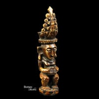 """Nias Royal Figure Carved From Bone 3""""Ancestor Figure Protection Amulet Charm Small Figure Collectible Artifact Asian Culture"""