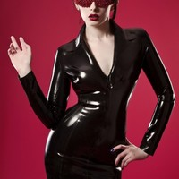 CLASSIC TAILORED LATEX SMART DRESS  made to measure by oohlalatex