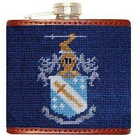Phi Delta Theta Needlepoint Flask in Blue by Smathers & Branson