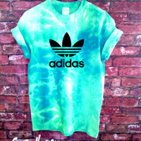 Stag & Bone Custom Dyed Authentic Adidas Originals Tie Dye Teal Tee | Stag & Bone Apparel