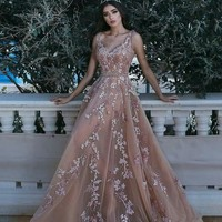 Evening Dress Champagne Tulle Appliques Prom Dress