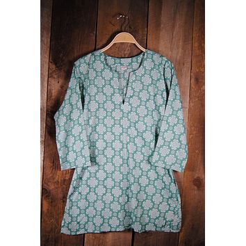Cotton Tunic Top Tory in Mint Green