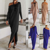 Europe And America Style Sexy Off Shoulder Long Sleeves Cocktail Slit Long Dress = 5657580481