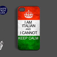 Italian Flag Cannot Keep Calm Iphone 4 case, iphone 4s cover - Cool phone Cases, Best Designer Unique Hard Rubber Covers