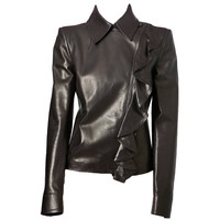 Yves St. Laurent - Yves St. laurent Chocolate Brown Leather Jacket
