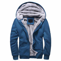 HEE GRAND 2016 Men Thick Hooded Sweatshirts New Solid Winter Tracksuits Man Warm Large Size  Hoddies High Quality  MWW658