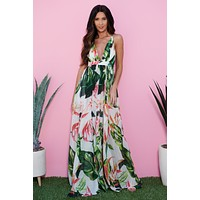 Into The Tropics Maxi Dress (White)