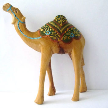 Painted Wood Vintage Camel Figure / African Wood Figurine