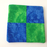 Fun Retro Pot Holder, Coaster, Trivet, Table Topper. Blue and Green Tie Dye