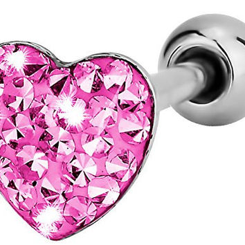 """14g 5/8"""" Surgical Steel Pink Pave Crystalline Epoxy Heart Top Tongue Piercing Barbell"""