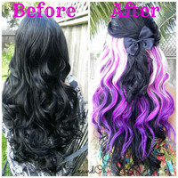 """HAPPY HOLIDAYS SALE / Purple Blonde Clip In / 18"""" Long One Piece Hair Extension / Clip To Your Natural Hair or a Wig"""