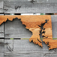 Maryland state shape wood cutout wall art handcrafted from repurposed Oak flooring 11x21 in. Wedding Housewarming Cabin Rustic Gift Decor