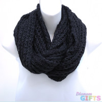 Fashion Knitted Loop Scarf w/ Hints of Sequins - Black Color: Black