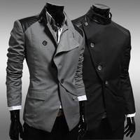 Leather Patch Designer Cut Men's Slim Blazer Jacket