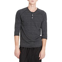 PREMIUM Mens Slim Fit Raglan 3/4 Sleeve Baseball Button Henley Shirt