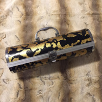 Black and Metallic Gold Wine Holder with Corkscrew