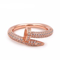 Vintage Multi Color Cubic Zircon Bended Nail Design Fashion Ring