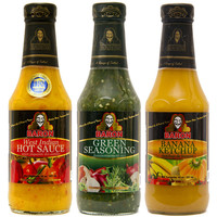 Baron Green Seasoning Hot Pepper Sauce and Banana Ketchup 14oz 3-Pack