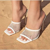 New ladies shoes mesh large size mid-heel sandals