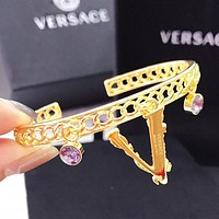 Versace New fashion letter diamond hollow bracelet women Golden