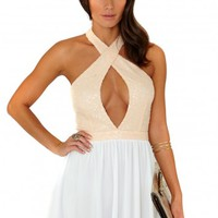 Missguided - Amelle Halterneck Sequin Top Chiffon Skater Mini Dress In Nude