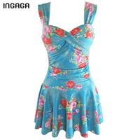 INGAGA 2018 Retro Two-piece Swimsuit Swimwear Women Swim Dress Floral Printing Push Up Swimsuits Bandage Bathing Suits