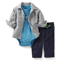 Carter's Boys 3 Piece 'Little Mate' Set with Striped Woven Shirt, Short Sleeve Bodysuit, and Pants