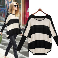 Long Sleeve Sweater Bat Shirt Striped Hooded Loose Casual Short Jacket Sweater