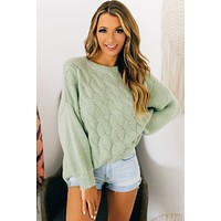 Winters With You Cable Knit Sweater (Misty Sage)