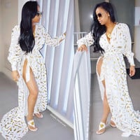 White and Gold Long Sleeve Maxi Dress