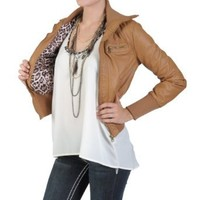 Hailey Jeans Co Juniors Faux Leather High Collar Bomber Jacket